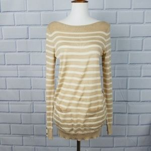 LOFT Stripe Boat Neck Pocket Sweater  A5-6